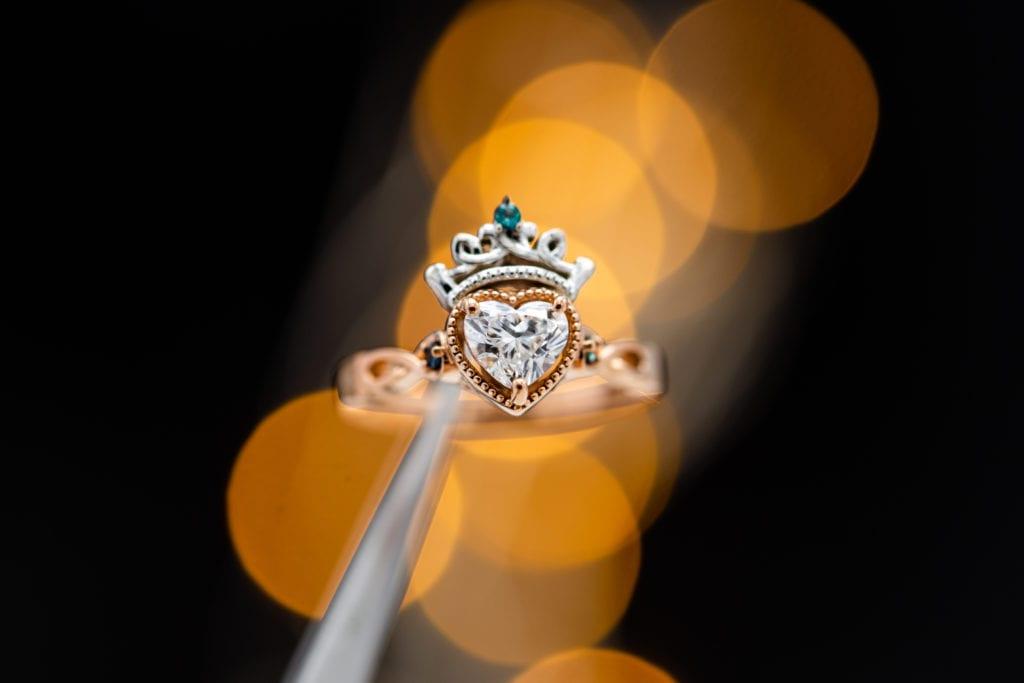 heart-cut diamond in Celtic setting