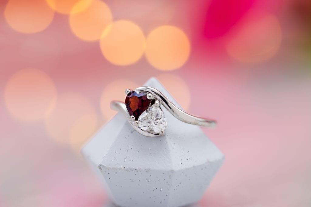 toi et moi ring - heart-cut diamond and garnet