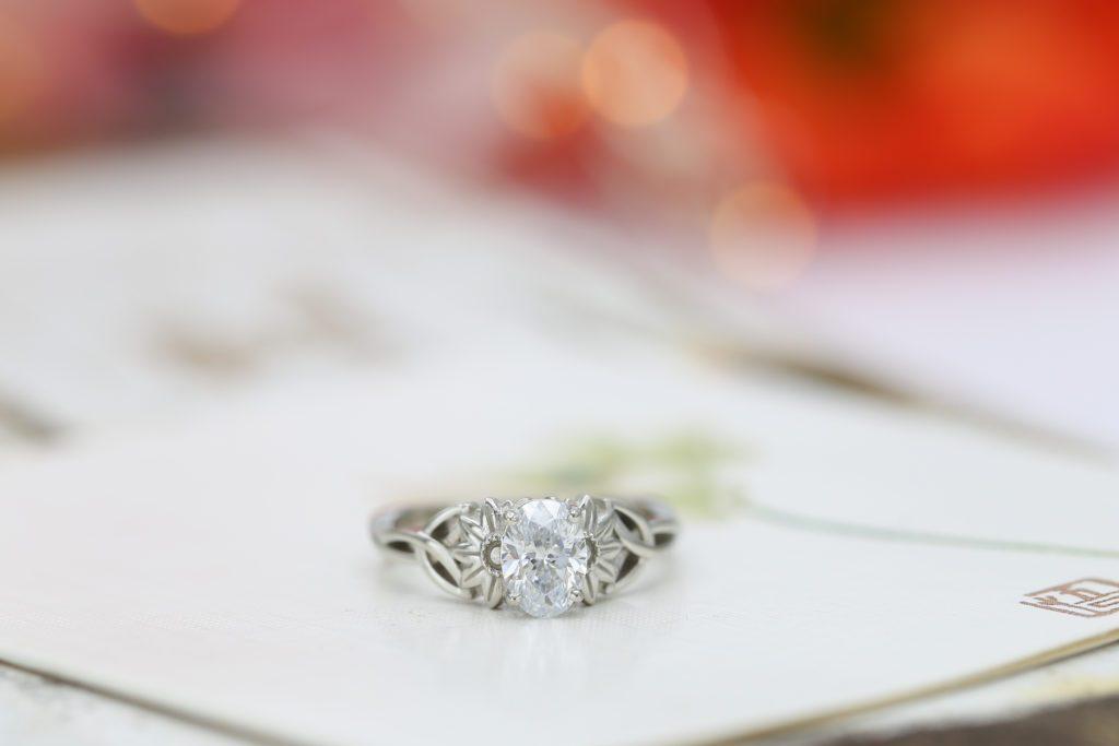 lab-created oval-cut diamond