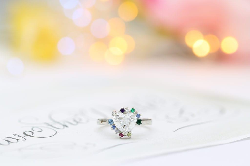 lab-created heart-cut diamond ring