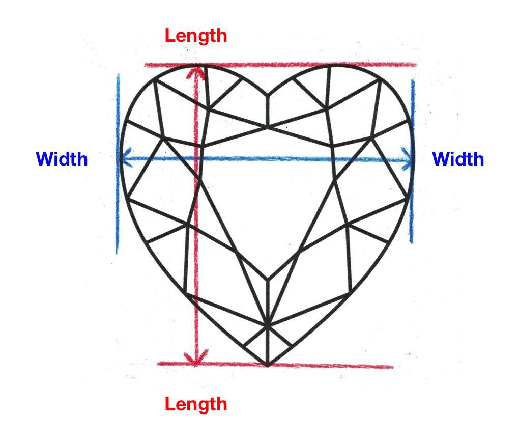 heart-cut diamond - length and width