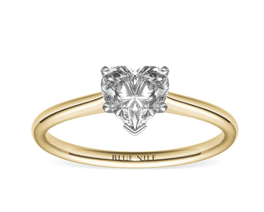 Heart shaped solitaire ring from Blue Nile