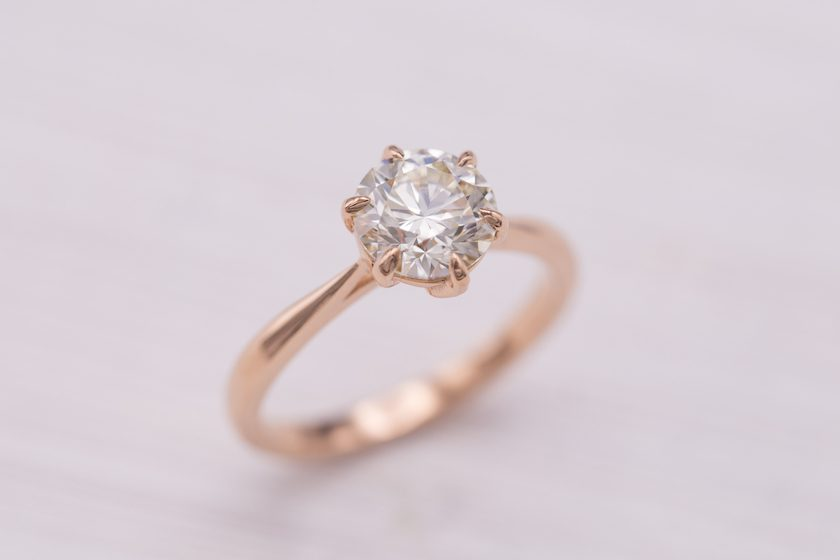 M color diamond ring - top view