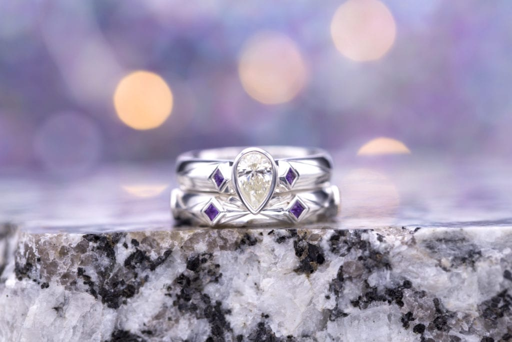 pear-cut diamond engagement ring - silver and amethyst accents