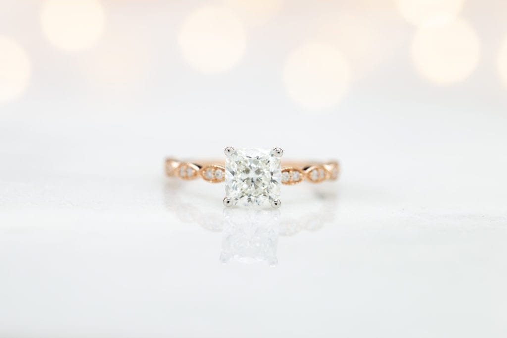 cushion-cut diamond, H color in rose gold