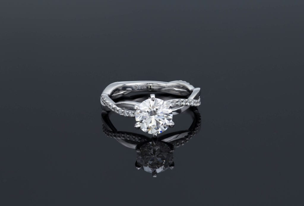 engagement ring with lab-created diamond