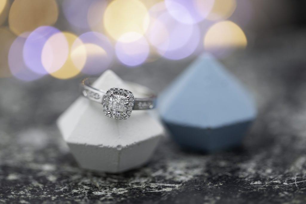cushion-cut diamond engagement ring