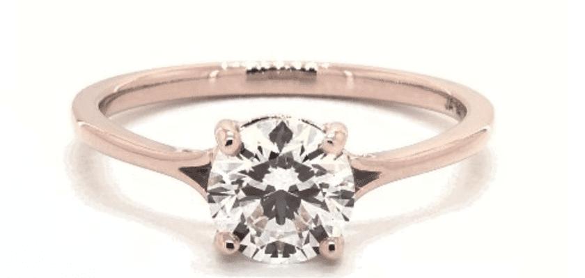 J color diamond in rose gold