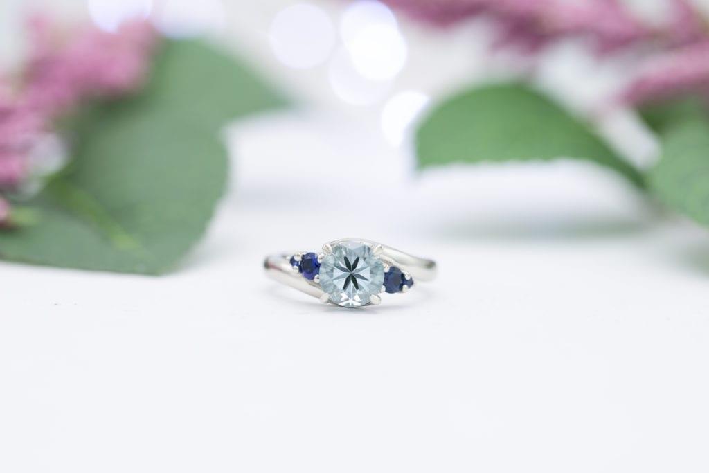 aquamarine and sapphire engagement ring