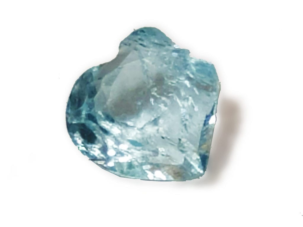 broken heart-shaped aquamarine