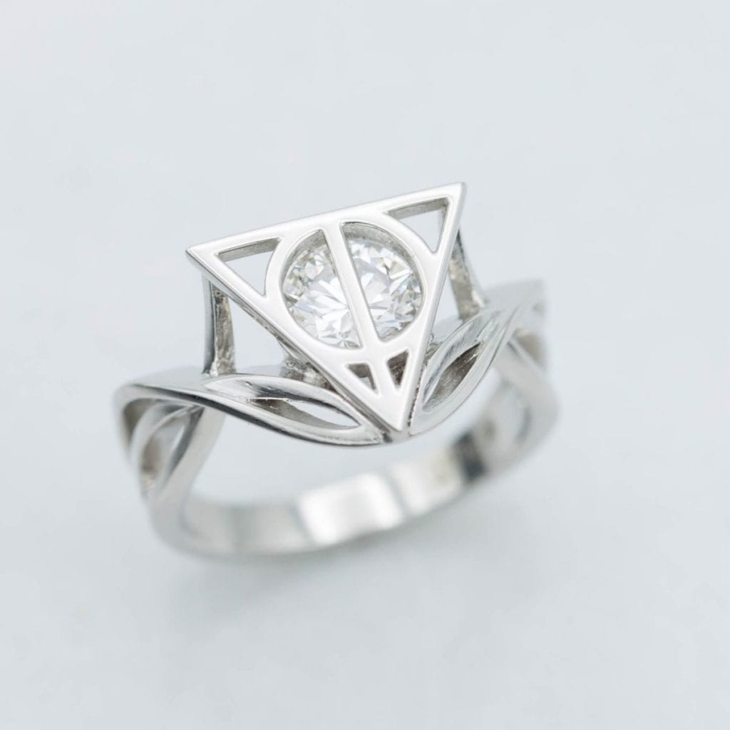 CustomMade Deathly Hallows Engagement Ring