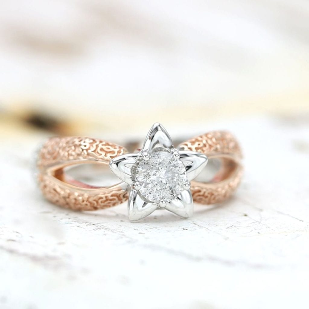 CustomMade Salt and Pepper Diamond Engagement Ring