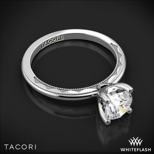Tacori 40 15RD Sculpted Crescent Millgrain Solitaire Engagement Ring in White Gold
