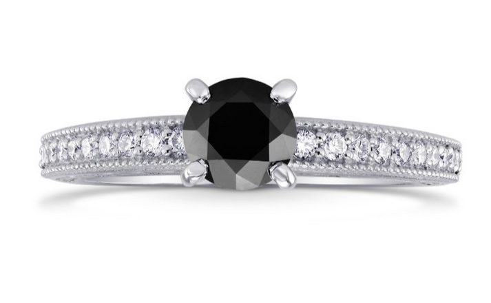 Black Diamond Solitaire Milgrain Side Stone Ring