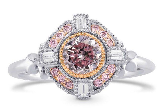 Fancy Intense Purplish Pink Round Diamond Engagement Ring