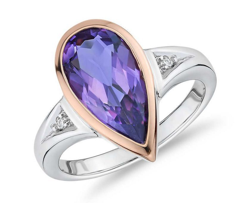 Two-Tone Pear-Shaped Amethyst and Diamond Fashion Ring