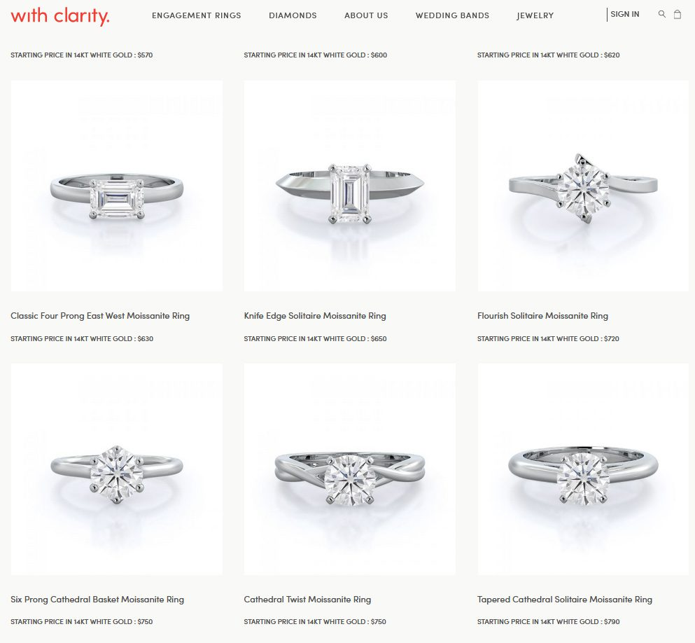 moissanite rings at with clarity