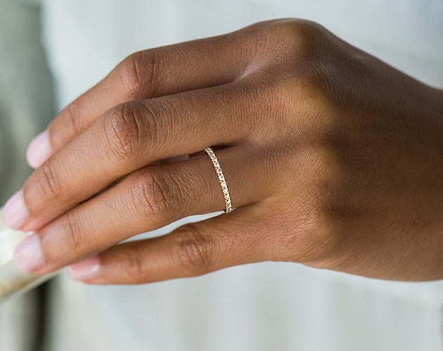 14K White Gold Thin French-Cut Pave James Allen