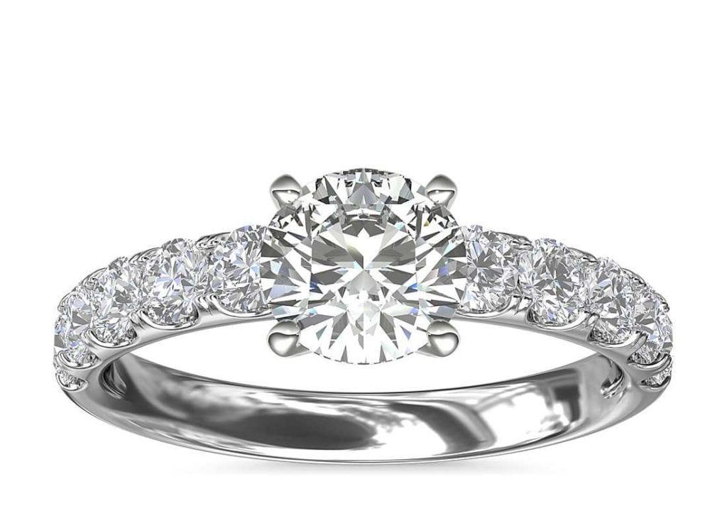 Riviera Pavé Diamond Engagement Ring in Platinum Blue Nile