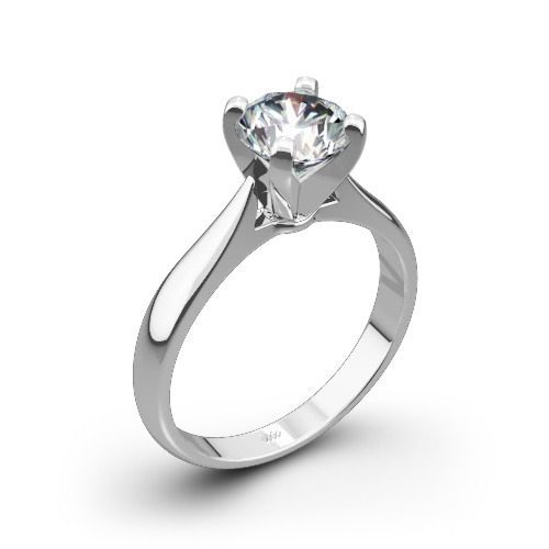 sleek line solitaire engagement ring in white-gold white flash
