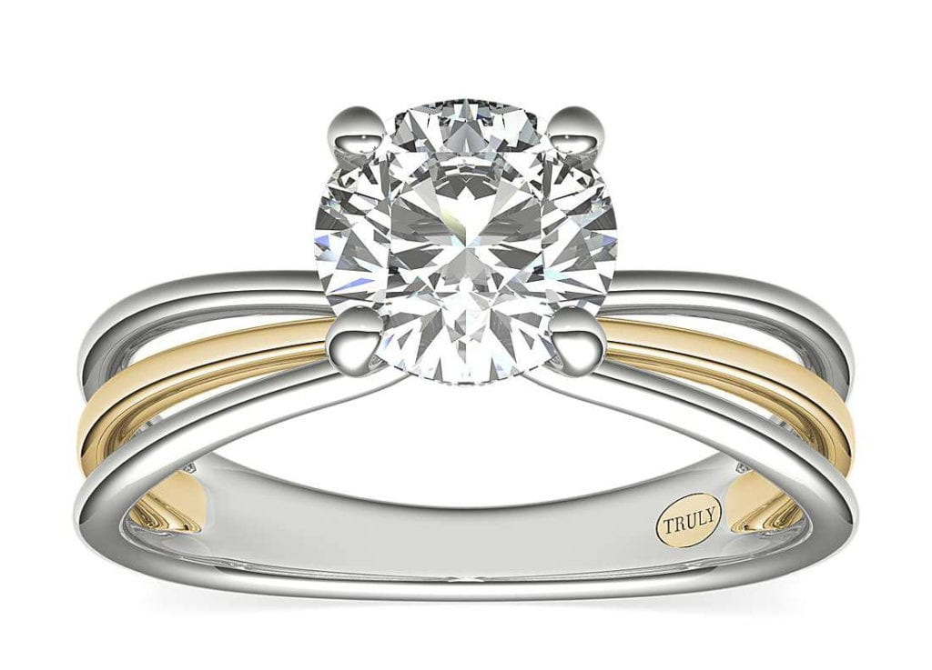 Zac Posen Triple Band Solitaire Diamond Engagement Ring Setting