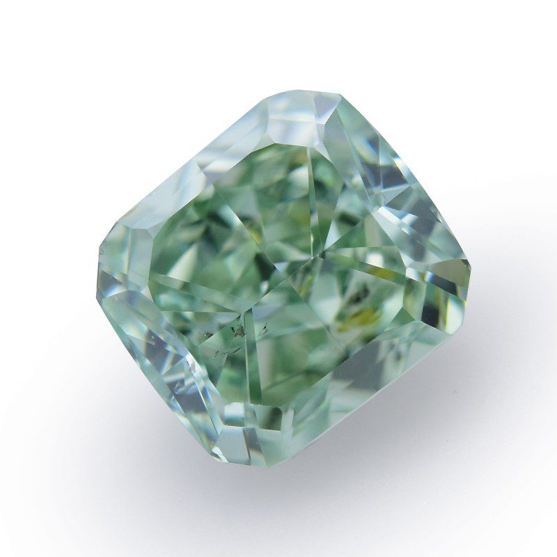 0.70 carat, Fancy Vivid Green Diamond, Radiant Shape, SI2 Clarity, GIA