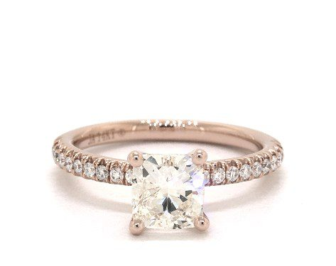 1.00 carat Cushion cut Pave engagement ring IN 14K Rose Gold James Allen
