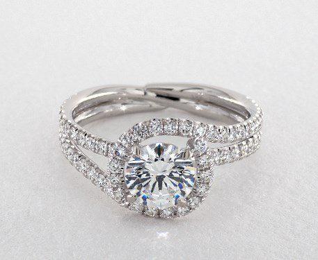 14K White Gold Abbraccio Swirl Engagement Ring by Danhov James Allen