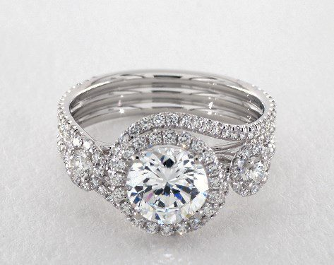 14K White Gold Abbraccio Triple Shank Engagment Ring Style#: AE511Q by Danhov Jmaes Allen
