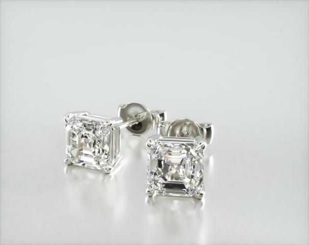14K White Gold Asscher Cut Shape Diamond Earrings James Allen