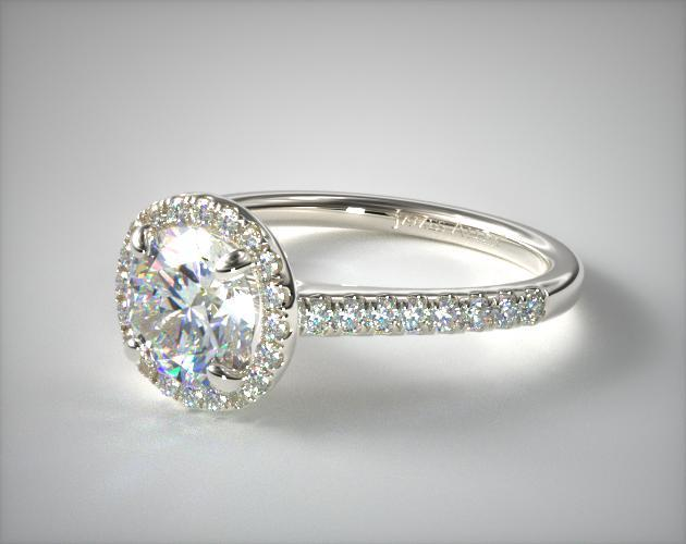 14K White Gold Pave Halo and Shank Diamond Engagement Ring (Round Center) James Allen