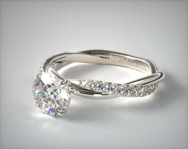 14K White Gold Pave Rope Engagement Ring James Allen