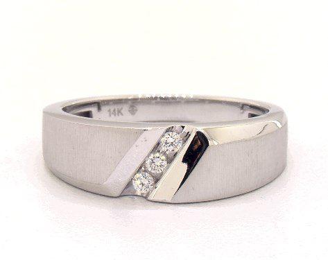 14K White Gold Slope Diamond Ring James ALlen