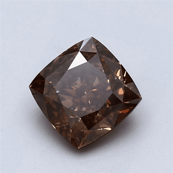 360 Video - Actual diamond magnified NEED HELP? 1-888-565-7641 Email Us 1.18-Carat Dark Orangy Brown Cushion Cut Diamond