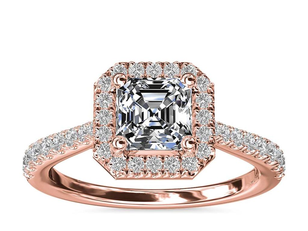Asscher Diamond Bridge Halo Diamond Engagement Ring in 14k Rose Gold Blue Nile