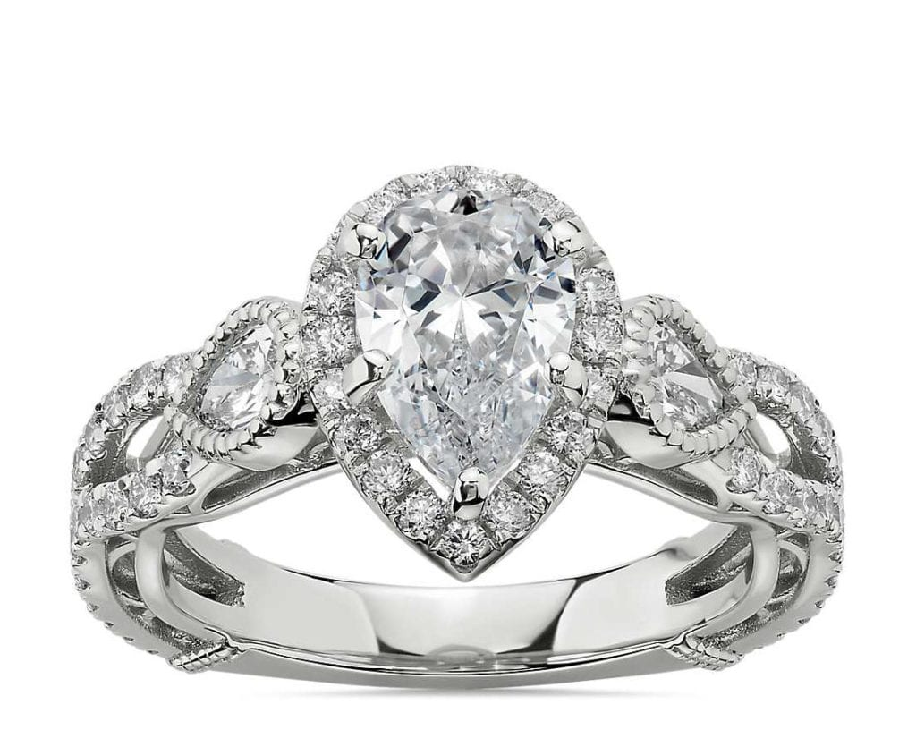 Bella Vaughan for Blue Nile Scia Diamond Engagement Ring in Platinum Blue NiIle