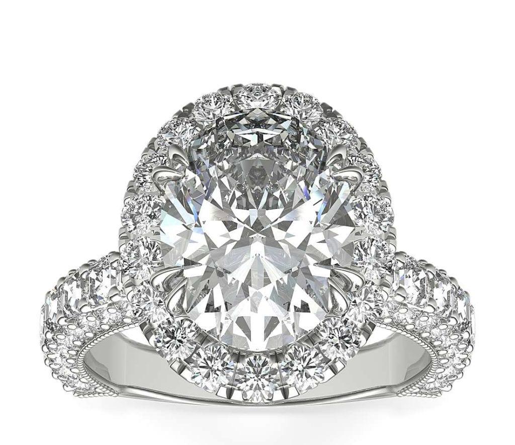 Bella Vaughan for Blue Nile Grandeur Oval Halo Diamond Engagement Ring in Platinum