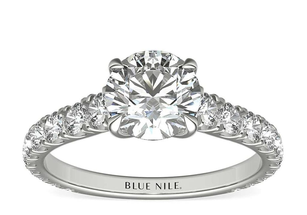 Cathedral Pave Diamond Engagement Ring in Platinum Blue Nile
