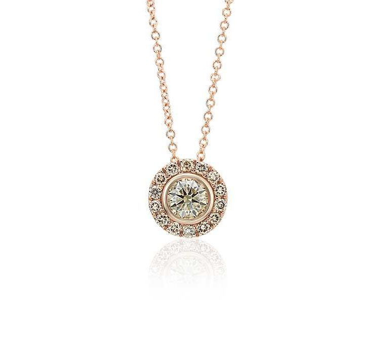 Champagne Diamond Halo Pendant in 14k Rose Gold (1/2 ct. tw.) Blue NIle