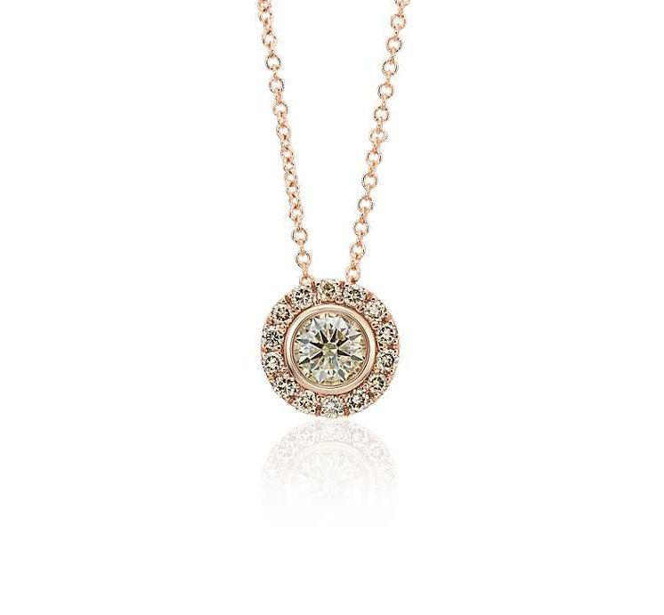 Champagne Diamond Halo Pendant in 14k Rose Gold (1/2 ct. tw.) Blue NIle