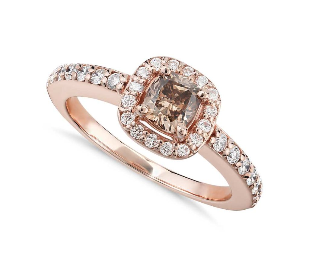 Champagne Halo Diamond Ring Blue NIle