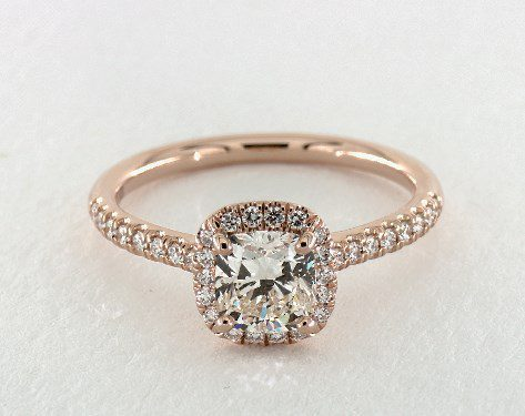 0.92 carat Cushion Modified cut Halo engagement ring IN 14K Rose Gold