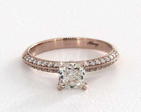 1.00 carat Cushion Modified cut Pave engagement ring IN 14K Rose Gold James Allen
