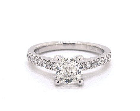 1.01 carat Cushion Modified cut Pave engagement ring IN 14K White Gold James Allen