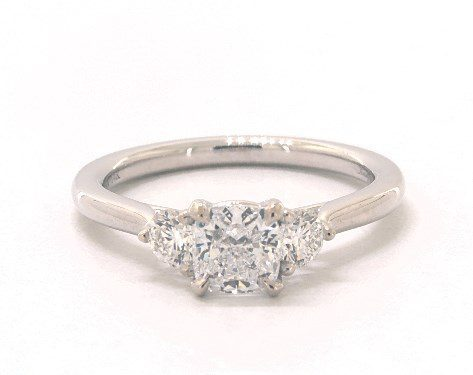 Cushion Modified cut Three Stone engagement ring IN 14K White Gold James Allen