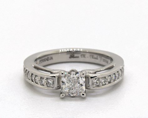 0.50 carat Cushion Modified cut Vintage engagement ring IN Platinum