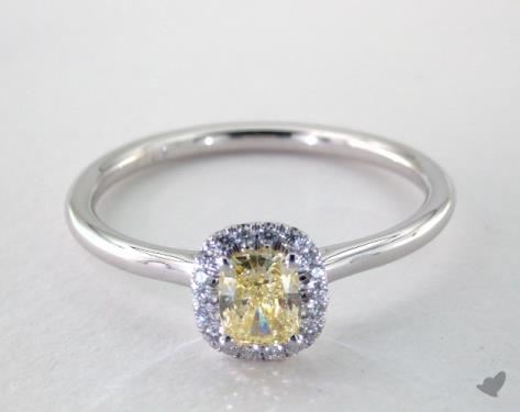 Engagement Ring Total carat weight: 0.73 0.61 carat Cushion cut Halo engagement ring IN 14K White Gold James Allen