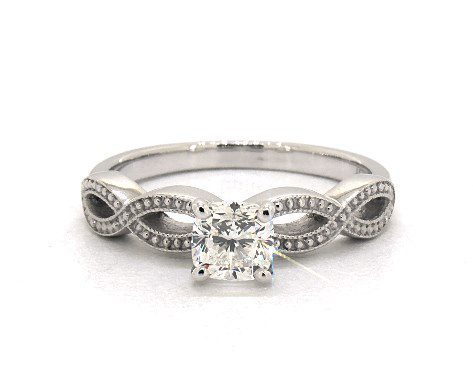 0.70 carat Cushion cut Vintage engagement ring IN 14K White Gold James Allen