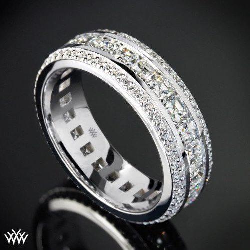 ustom Asscher and Round Full Eternity Diamond Wedding Ring White Flash