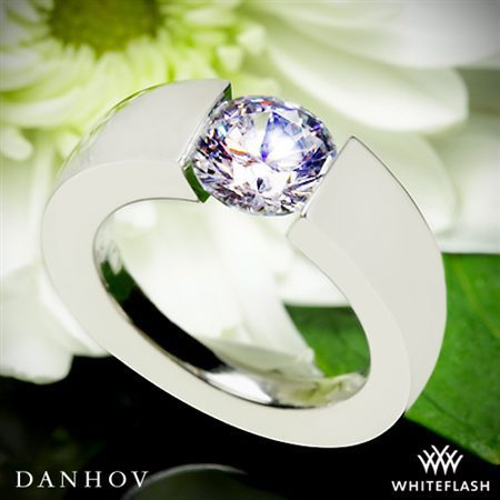 Danhov V121 Voltaggio Tension Diamond Engagement Ring White Flash